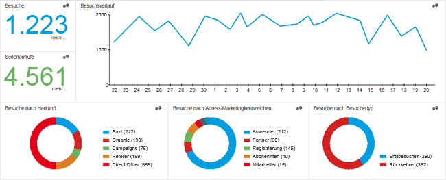 Dashboard Webportal Auswertungen