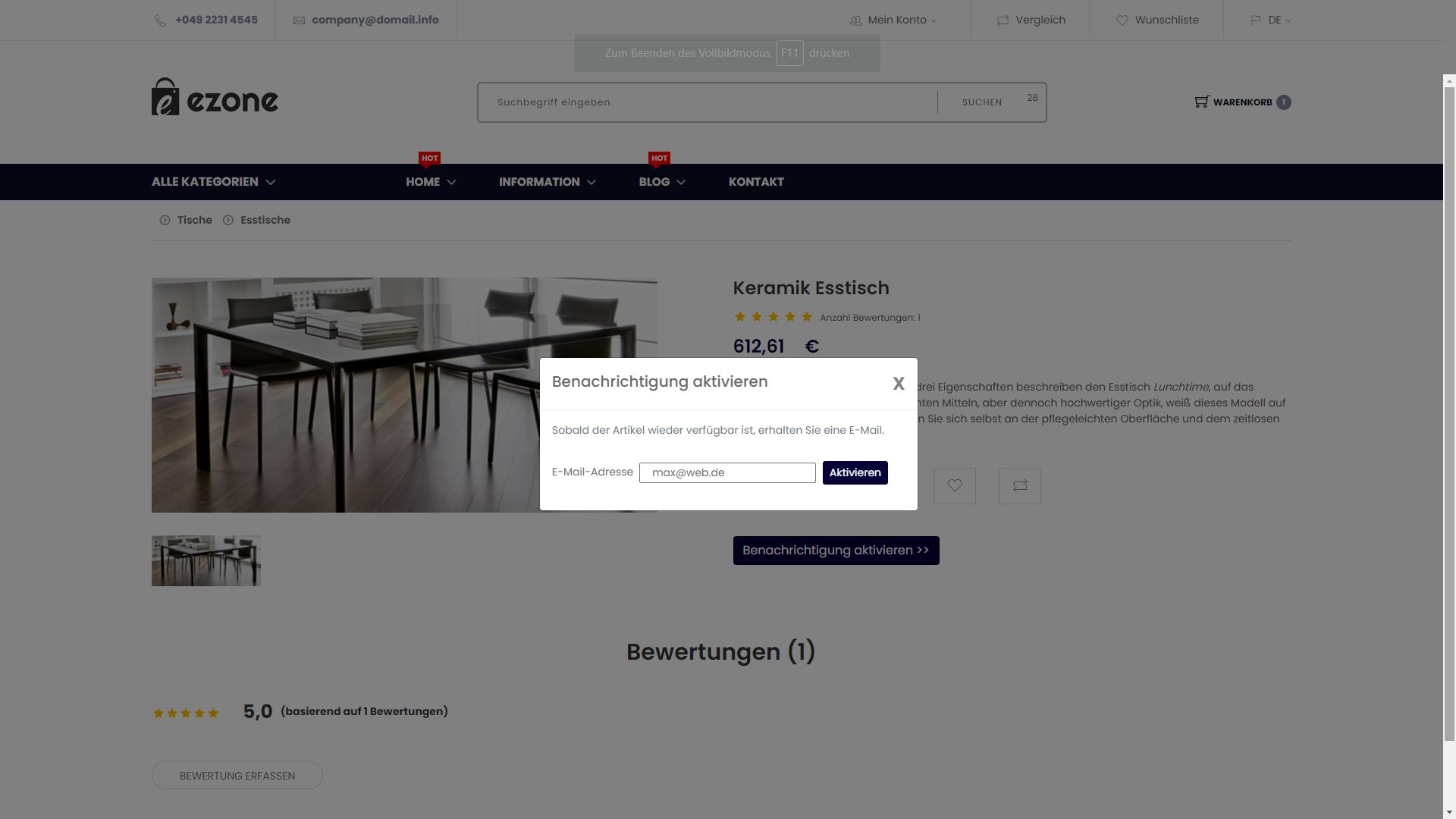 "myfactory Service Pack 1129: E-Commerce: Neuer Elementtyp ""Artikel-Benachrichtigung setzen"""